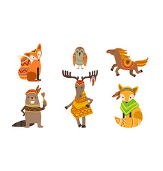 ethnic patterned animals set fox owl horse vector image