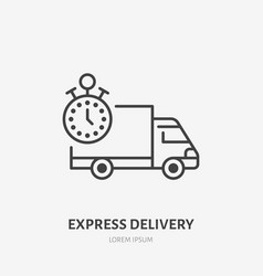 Express delivery flat line icon fast truck sign vector