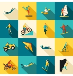 Extreme Sports Flat Icons Set vector