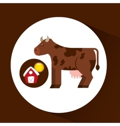 Farm countryside cow animal design vector