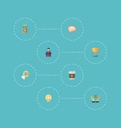 flat icons mind break income and other vector image