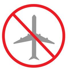 Forbidden plane icon on white background flat vector