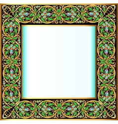 frame with jewels and geometric designs in gold vector image