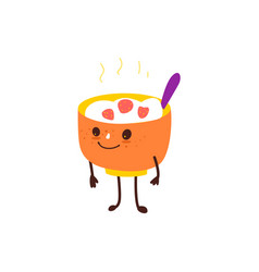 Funny bowl of hot oatmeal rice porridge character vector