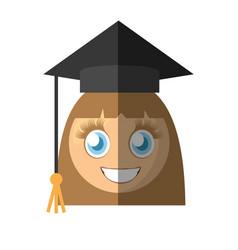 Graduate girl emoticon cartoon vector