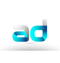 Grey blue alphabet letter ad a d logo 3d design vector