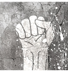 grunge fist sign on concrete wall texture vector image