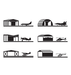 Hangars for airplanes and helicopters vector