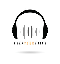 Headphone hear voice icon in black vector