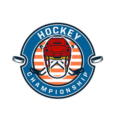 hockey championship logo template with vector image
