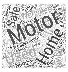 How to Find Used Motor Homes for Sale Word Cloud vector image