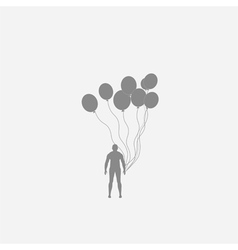 Human and balloons vector