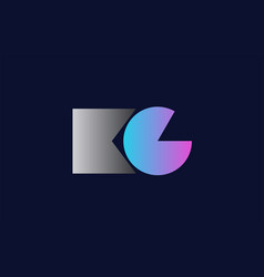 initial alphabet letter kc k c logo company icon vector image