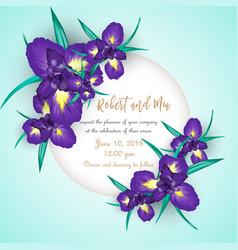 Iris flower wedding invitation card vector