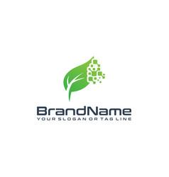 Leaf technology logo designs vector