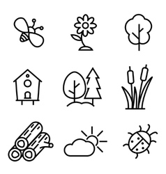 line nature icons set vector image