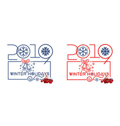 logo design set for winter holidays 2019 vector image