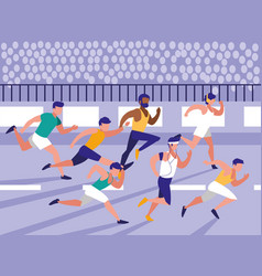 Male athletics race avatar character vector