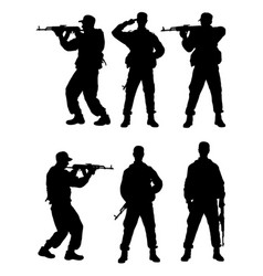 male soldier gesture silhouette vector image