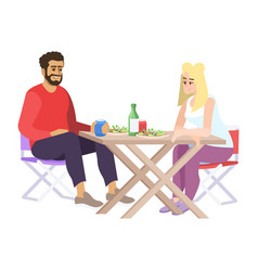 Man and woman at lunch flat coupe people food vector