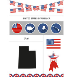 Map utah set flat design icons infographic vector