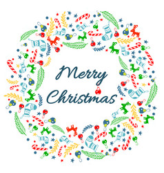 Merry christmas greeting card with wreath vector