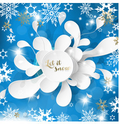 merry christmas with many snowflakes on abstract vector image