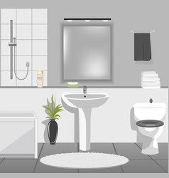 Modern bathroom interior with sink bathtub vector image
