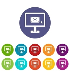 Monitor with email sign set icons vector image