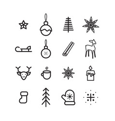 new year simple icon set vector image