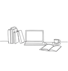 one continuous line drawing stack books vector image