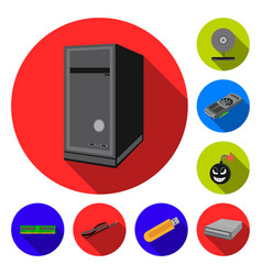Personal computer flat icons in set collection for vector