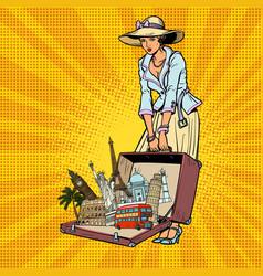 Pop art retro woman traveler vector