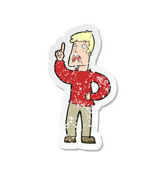 Retro distressed sticker of a cartoon man with vector