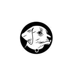 rustic black circle frame dog head vector image