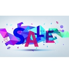 Sale banner Colorful origami faceted vector