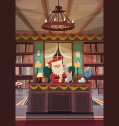 Santa claus reading wish list sitting at desk in vector