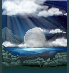 Scene with fullmoon over lake vector