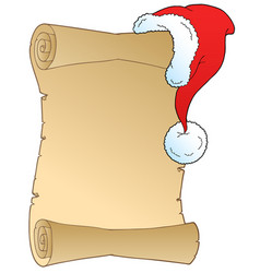 Scroll with christmas hat vector