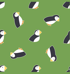 Seamless pattern with puffins symbol of ireland vector
