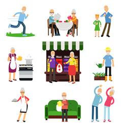 senior people activities set elderly man and vector image
