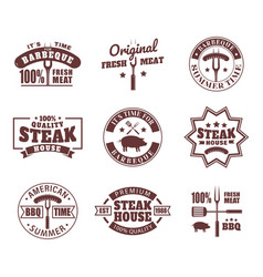 set isolated logo for meat restaurant vector image