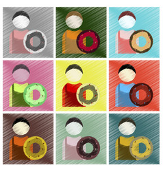 Set of flat icons in shading style cook donut vector