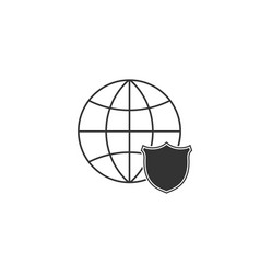 shield with world globe icon isolated security vector image