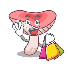 shopping russule mushroom character cartoon vector image
