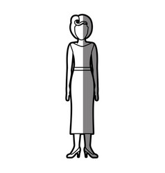 Silhouette shading body faceless woman with blouse vector