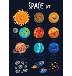 Space set Collection of cute cartoon planet vector image