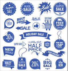 super sale badges and labels collection blue vector image
