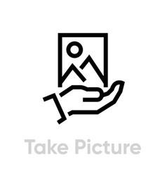 take picture icon editable stroke vector image