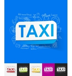 Taxi paper sticker with hand drawn elements vector